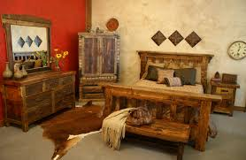 Favored Barn Wooden Rustic Bedroom Furniture Set With Full Size Headboard Bed Also Vanity As Well Cow Rugs Decors