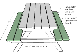 impressive size of picnic table ana white how to build an