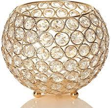vincigant gold schüssel kristall kerzenhalter hochzeitskerze für kerzen wohnzimmer dekoration urlaub feier hochzeit geschenk durchmesser 15cm
