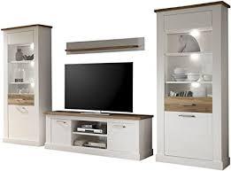 trendteam smart living wohnzimmer 4 teilige set kombination toronto 340 x 210 x 52 cm in korpus pinie weiß absetzung nussbaum satin nb im