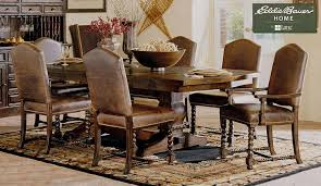Ed Bauer Round Dining Table Set in Dark Oak Finish Leather Side & Arm Chairs
