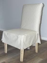 Ticking Stripe Short Box Cushion Dining Chair Slipcover