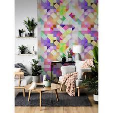 details zu helles pastell mosaik tapete aus vlies farbig grün lila und gelb wandmalerei