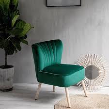 laxllent stuhl samt dunkelgrün sessel polsterstuhl 57x68x76cm mit holzfüß weich gepolstert stuhl für esszimmer wohnzimmer salon