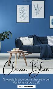 einrichtungsideen in classic blue wandfarbe wohnzimmer