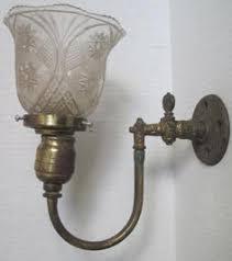 pair of antique brass gas light scroll sconces lighting fixtures
