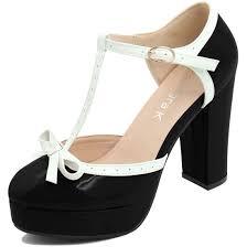 unique bargains women u0027s bow t strap chunky heel platform patent