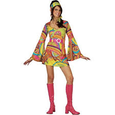 Retro Hippy Dress Ladies 1960s 1970s Fancy
