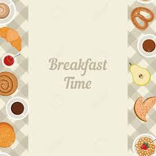 Vector Breakfast Time Illustration With Food And Drinks In Flat