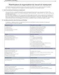 planification et organisation du travail en restauration 2001