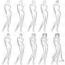 Sequence Of Hand Drawing Sketch A Women In Dress Royalty Free Vector Clip Art