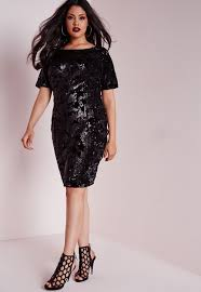 missguided plus size sequin dress black in black lyst