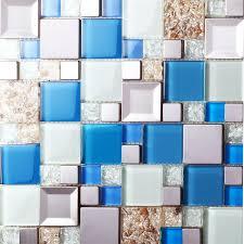 blue crackle glass tile kitchen wall tv wall backsplashes