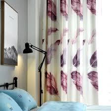 Schlafzimmer Vorhã Nge Einzelplatten Lila 3d Vorhänge Für Wohnzimmer Kinder Dekoration Nordischen Stil Digital Gedruckte Feder Schlafzimmer Vorhang Muster