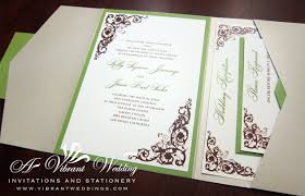 Champagne Green And Brown Wedding Invitation