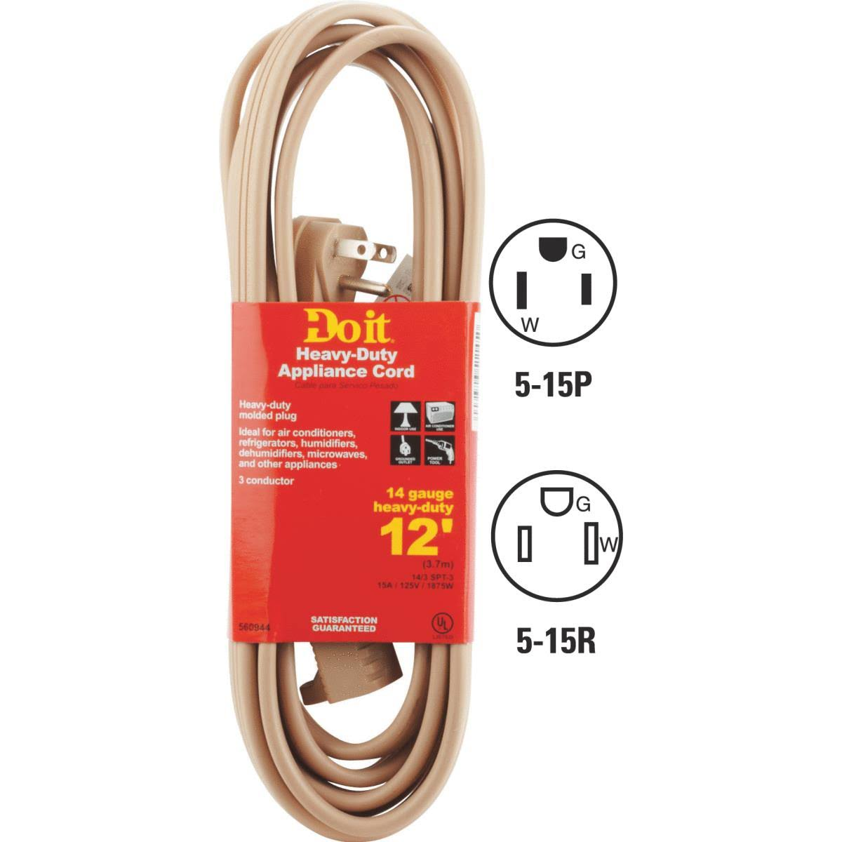 Appliance And Air Conditioner Cord - 12'