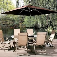 9 Ft Patio Umbrella With Crank by Abba Patio 8 Ft Square Outdoor Solar Powered 32 Led Cantilever