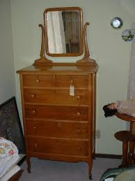 birdseye maple highboy dresser w beveled mirror