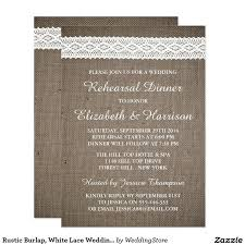 Rustic Burlap White Lace Wedding Rehearsal Dinner