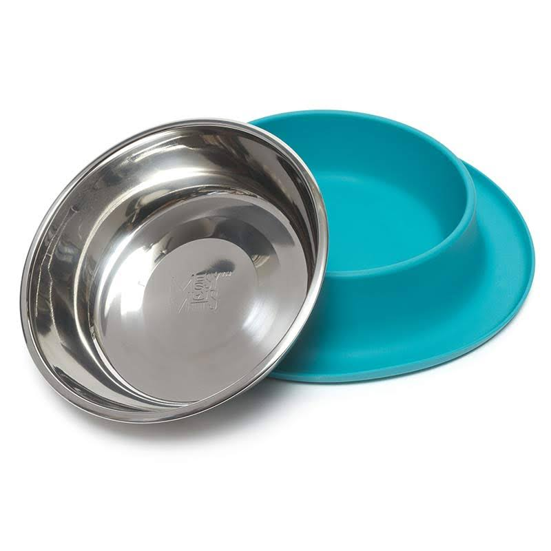 Messy Mutts Stainless Steel Dog Feeder - with Non-Slip Silicone Base, Blue, Medium