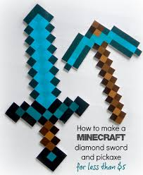 Minecraft Sword Pumpkin Carving Patterns by How To Make A Minecraft Diamond Sword And Diamond Pickaxe