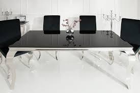 barock design esstisch modern barock 200cm schwarz esszimmertisch edelstahl opalglas tischplatte