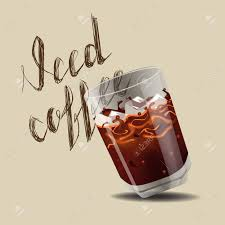 Iced Coffee Realistic Style Vector Illustration Stock