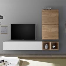 tv cabinet wall mounted light wood and white