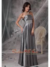Modest Dark Silver Mother Of The Bride Dress A Line Strapless Taffeta Beading Floor