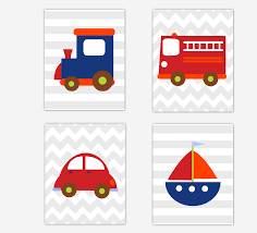 Transportation Baby Boy Nursery Wall Art Sailboat Train Car Fire ...