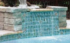 pool tile and water fall pool design water
