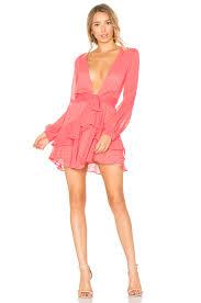 for love u0026 lemons tarta long sleeve mini dress in flamingo