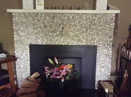 Mother Of Pearl Large Subway Tile by Java Tan And White Pebble Tile White Pebbles Tiled Fireplace