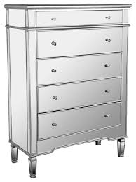 nicolette 5 drawer silver mirrored exclusive chest contemporary