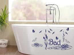 wandtattoo aufkleber wand deko set für badezimmer bad vögel seerosen schilf