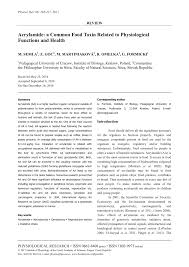 PDF A Review Of Acrylamide An Industry Perspective On Research Analysis Formation And Control
