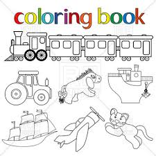 Cartoon Transportation Toys For Coloring Book
