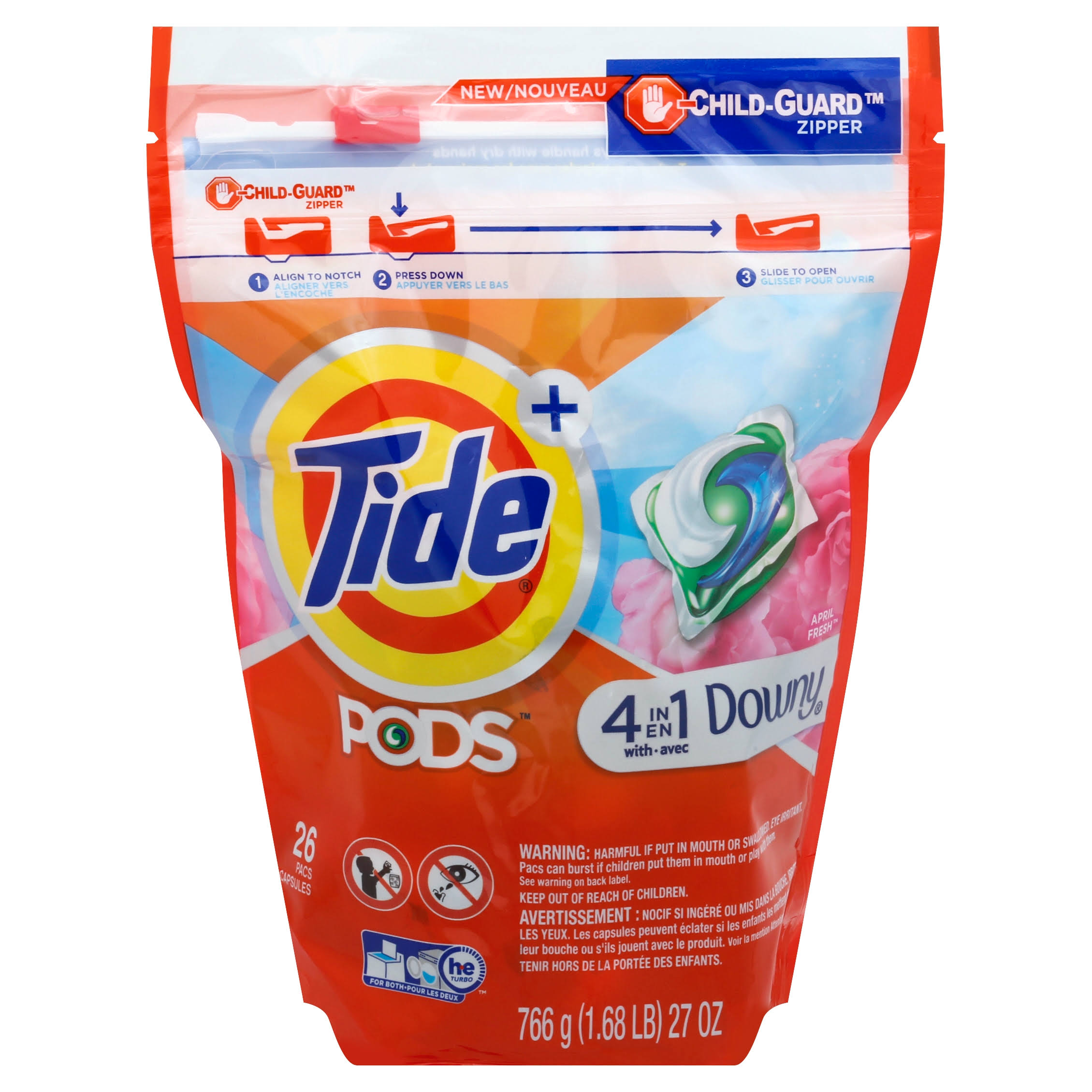 Tide Pods Plus 4 in 1 Downy Laundry Detergent - April Fresh, 26ct