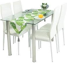 esszimmer set stühle und glastisch mit kunstleder gerippter schaumstoff esszimmerstühle mit hoher rückenlehne mit verchromten beinen moderne