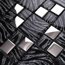 11 Sqft Per Lot Metallic Glass Silver Black Zebra Mosaic Tile Backsplash Kitchen Home