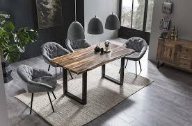 esszimmer essgruppe mit 4 stühlen esstisch komplettset wenge grau samt