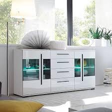 pharao24 wohnzimmer sideboard in weiß hochglanz glastüren