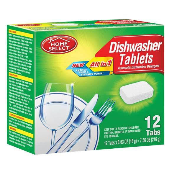 Home Select Dishwasher Tablets, Fresh Scent, 12 ct