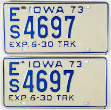 1973 Iowa Truck Half Year License Plates | Brandywine General Store