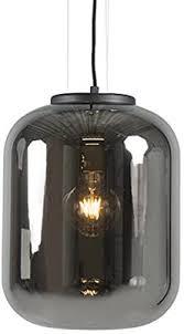 qazqa retro design hängele pendelle pendelleuchte schwarz mit rauchglas bliss wohnzimmer schlafzimmer küche rund led geeignet