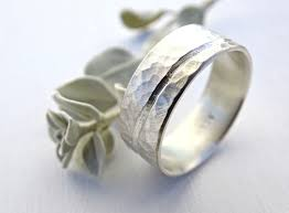 Ocean Inspired Wedding Band Rustic Wave Ring Silver Alternative Engagement