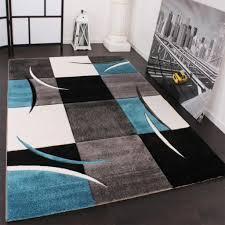 designer teppich mit konturenschnitt karo muster türkis grau grösse 160x230 cm