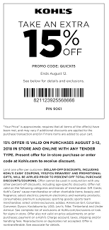 Kohls Coupons - 15% Off At Kohls, Or Online Via Promo Code QUICK15 Kohls 30 Off Coupons Code Plus Free Shipping March 2019 Kohls New Mobile Coupon Program 15 Off Printable Alcom Code Promo Deals Aug 1819 Coupon Exclusions Toys Reis Tsernobli Hind New Excludes Toys From Codes Coupons Kids Steals 40 Off 5 Ways To Snag One Lushdollarcom Pinned September 14th 1520 More At Or Online Via Promo Code Archives Turtlebird Holiday Shopping Starts Nov 8th 16th If Anyone Has In