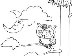 Owl Moon And Coloring Page