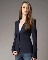 smythe one button blazer in navy in blue lyst